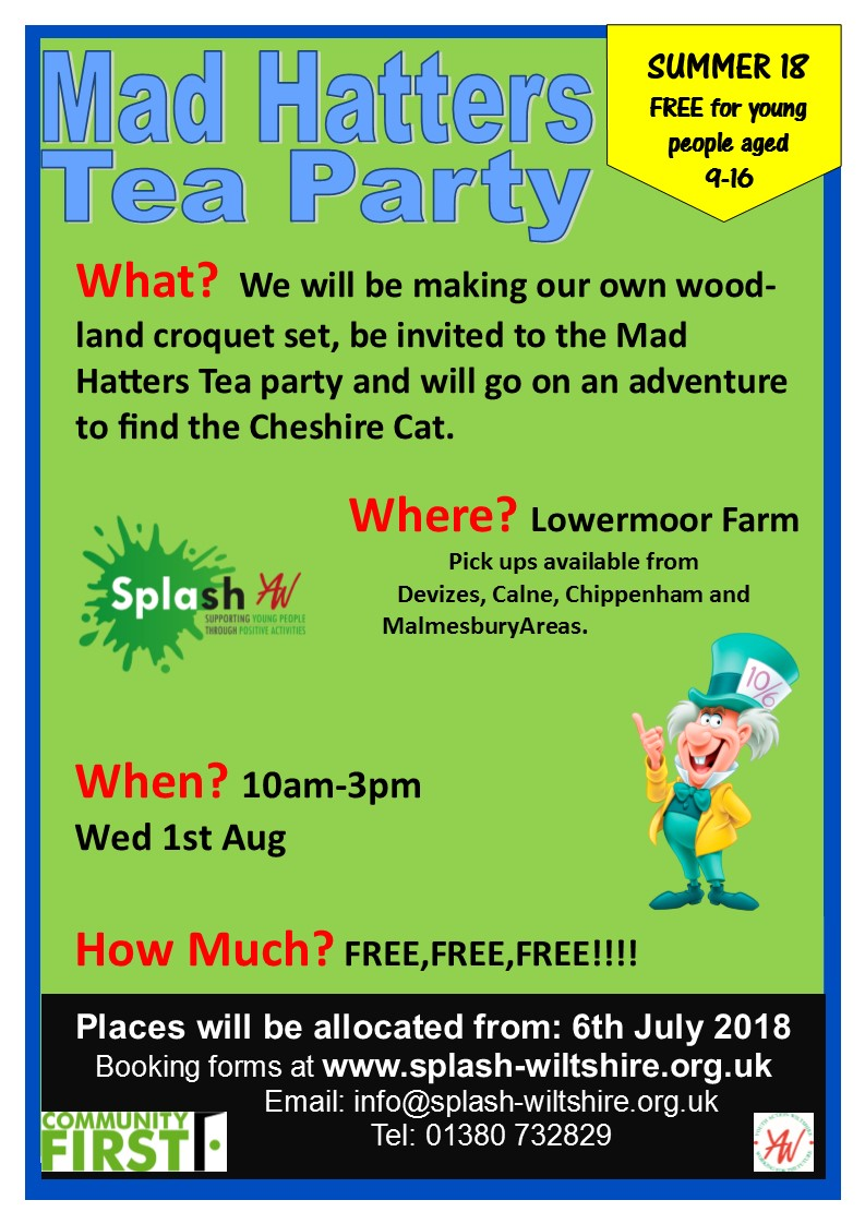 mad hatters tea party lowermoor summer 18 ppster