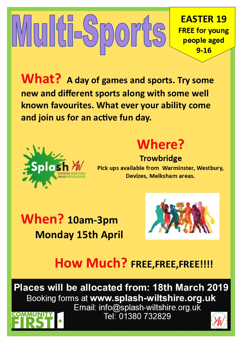 Splash multi sports trowbridge april 2019 poster