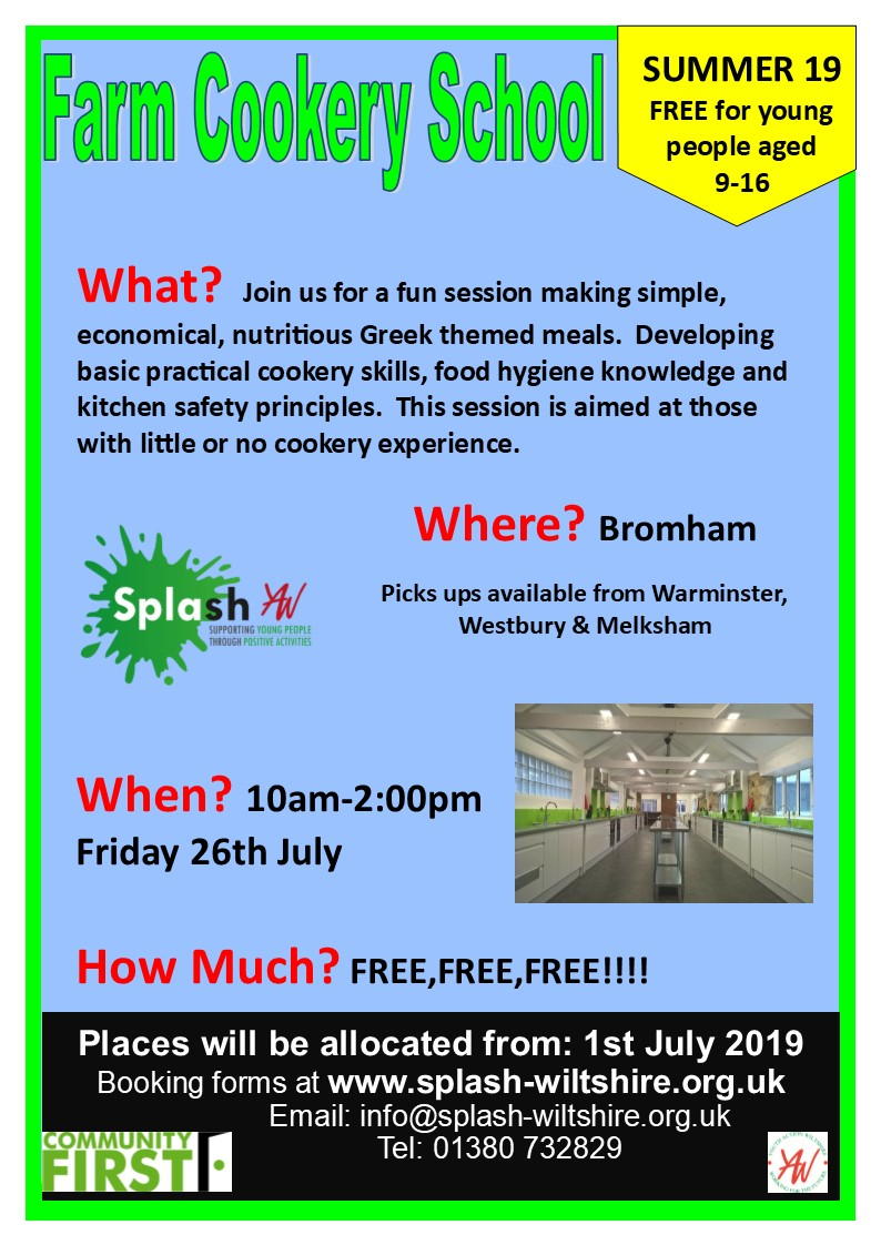 Farm Cookery School Summer 2019 Splash Poster Week 1