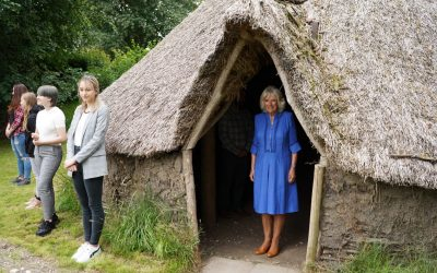 Her Royal Highness The Duchess of Cornwall cuts the ribbon to re-open Oxenwood Outdoor Education Centre