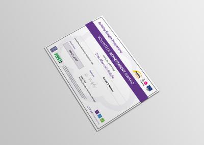 Bold Portfolio Volunteering Certificate Building Bridges Print Design