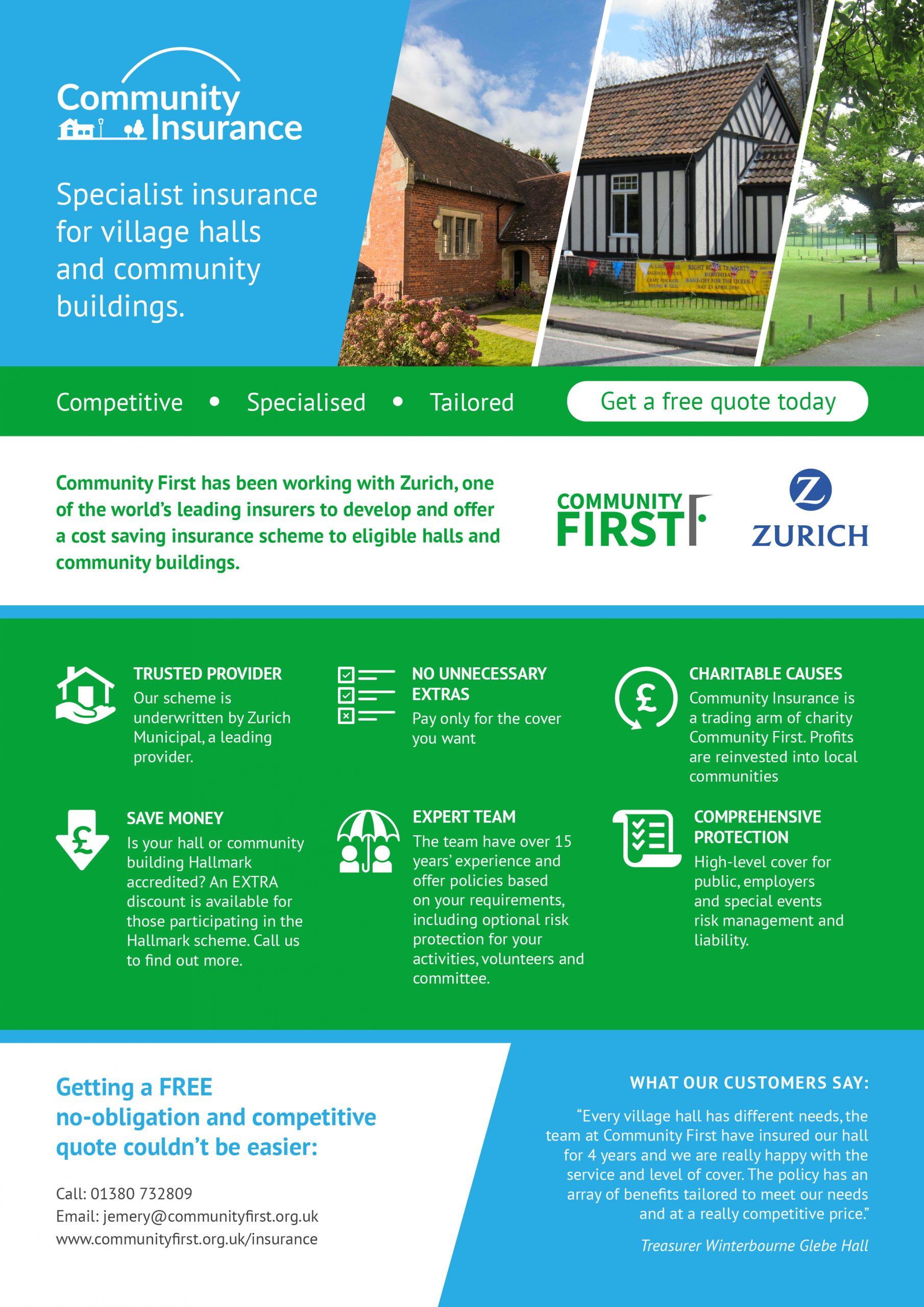 2021 local village hall community building insurance leaflet